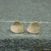 Heart stud earrings in brass with sterling silver posts and scroll fittings