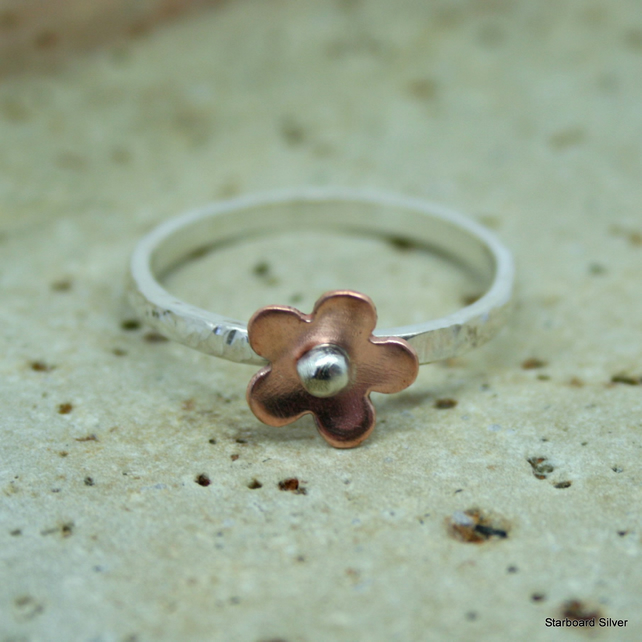 Sterling silver and copper daisy stacking ring.