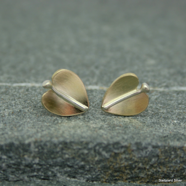 Brass leaf stud earrings with silver veins