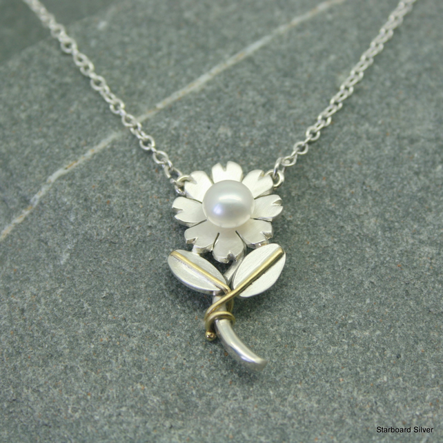 Unique, hand made, sterling silver flower and pearl necklace
