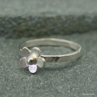 Sterling silver daisy, stacking ring.
