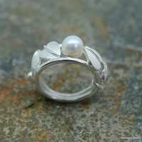 Handmade sterling silver, Art Nouveau style ring with single freshwater pearl.