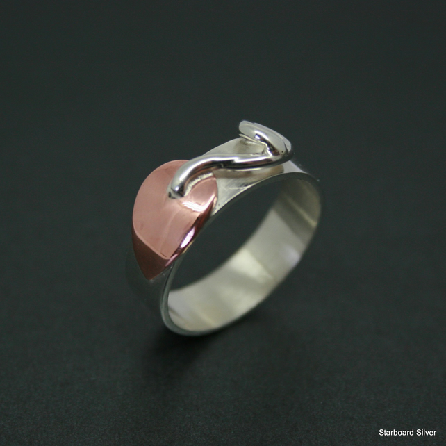 Highly polished, silver and copper leaf ring.