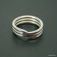 Sterling silver, triple band ring