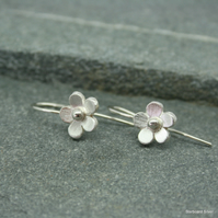 Sterling silver daisy earrings with hook earwires