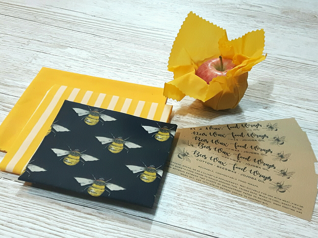 Navy set of 4 Beeswax Food Wraps Zero Waste Biodegradable Plastic free
