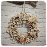 Vintage bookpage and silk rose wreath