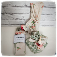 Tea-stained Furoshiki gift wraps with a shabby chic twist-Set of two