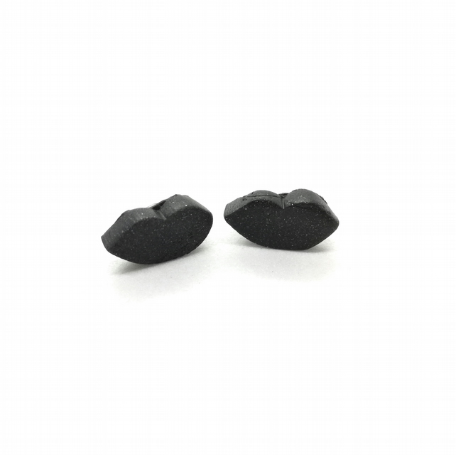 Lip Earings, Small Stud Earrings, Black Earrings, Cute Earrings, Quirky Studs