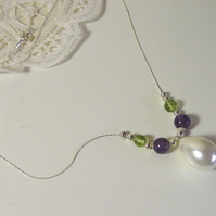 "Suffragette Necklace Sterling Silver 18"" Chain Amethyst Peridot Gemstones Pouch"