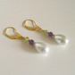 Suffragette Earrings Amethyst Peridot Gemstones White peardrop Czech Pearl Gold