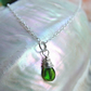 Russian diopside gemstone wire wrapped on Sterling Silver Chain 18""