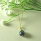 "Black blue Freshwater Pearl on Yellow Gold Vermeil Sterling Silver 18"" Necklace"