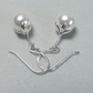 Sterling Silver Petal Earrings Swarovski 10mm White Pearls elements ball hooks