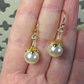 Yellow Gold Vermeil Petal Earrings Cream Pearl 10mm Swarovski elements