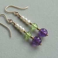 Suffragette Earrings Amethyst Peridot Gemstones White Freshwater Pearls Gold