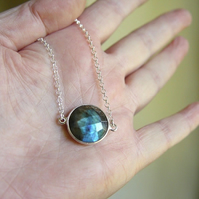 "Labradorite bezel set in sterling silver on a 16"" Silver Necklace rolo Chain"