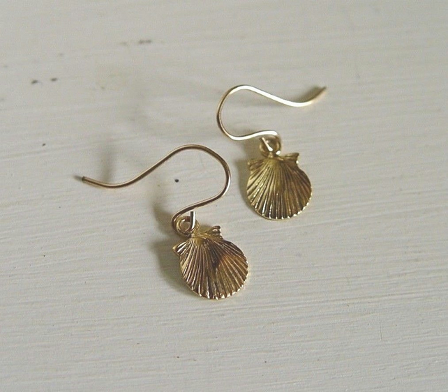 8db1cee02 Vermeil Gold Shell Earrings Gold plated Sterlin... - Folksy