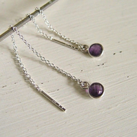 Amethyst threader Earrings Sterling silver pull through gemstone Handmade