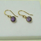 Amethyst Earrings yellow gold vermeil bezel setting vermeil ball hooks