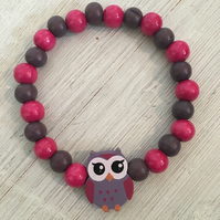 Wooden bracelets with owl beads