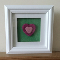 Hand felted heart picture