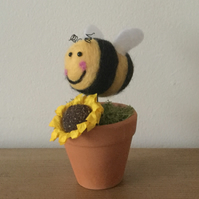 Hand felted bumblebee in terracotta pot