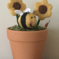 Hand felted bumblebee with sunflowers
