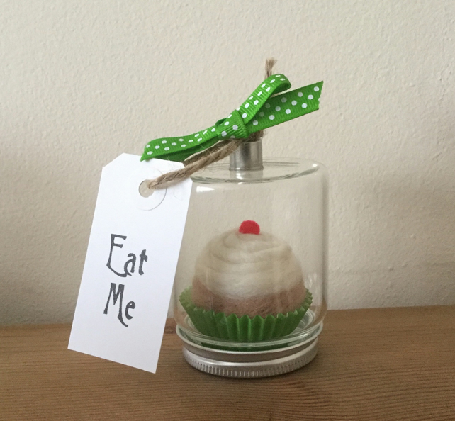 Hand felted 'eat me' cupcake in hanging glass jar.