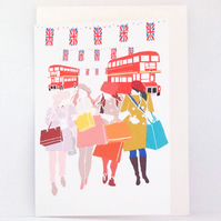 Ladies Shopping in London City Greeting Card