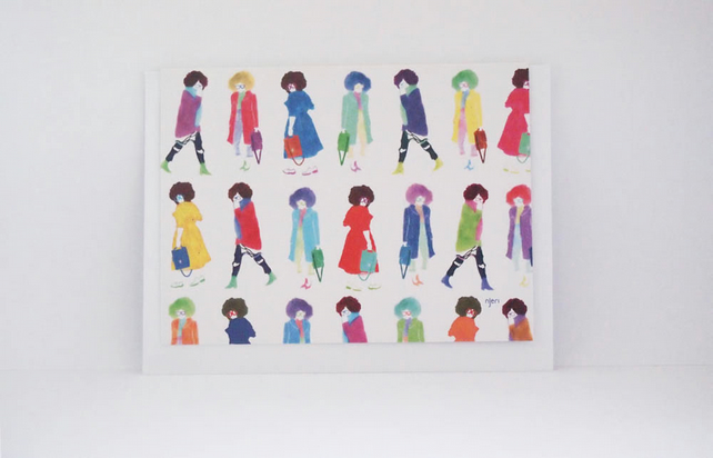 Stylish Fashion Ladies With Coloured Hair Greeting Card