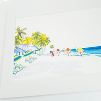 Illustration of the Kenyan Coast - Printed on A4 card, in a white Mount Frame