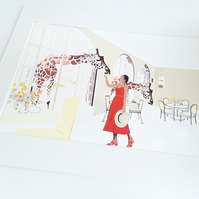 Illustration of the Giraffe Manor - Printed on A4 card, in a white Mount Frame