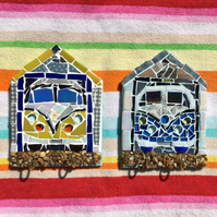 Mosaic art VW camper van key holder beach hut
