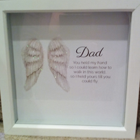 Dad memorial angel glitter wings quote you held my hand memory box remembrance