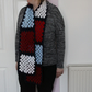 Hand crochet granny stitch red, white and blue scarf