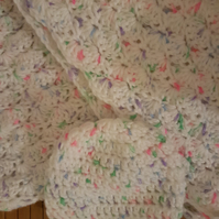 Pretty shell stitch hand crocheted baby blanket and hat set