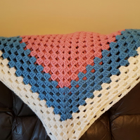 Handmade Chunky Crochet Blanket, Pink, Blue and White