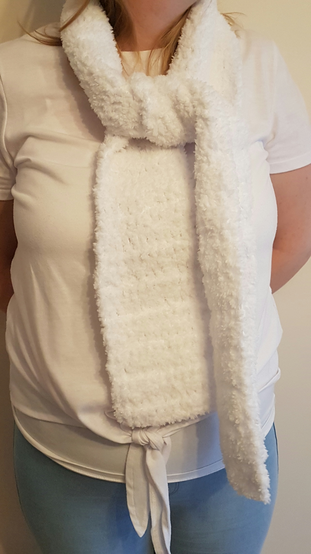 Pure white supersoft and warm crochet scarf