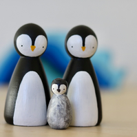 Penguin family peg dolls - two penguins and chick