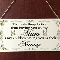 Personalised DELUXE Plaque No1 Mum Nanny Grandma Mothers Day Gift Sign Present