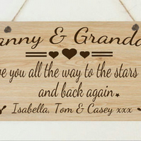 Personalised Love You To The Stars & Back Plaque Nanny Grandad Mother's Day