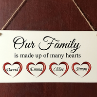 Handmade DELUXE Personalised Plaque Our Family Hearts Gift Sign Present