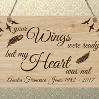 Personalised Wooden Plaque Heaven Bereavement Memorial Family Gift Present
