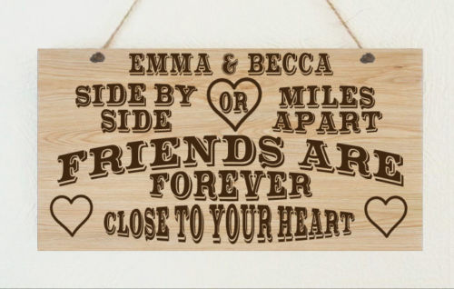Personalised Wooden Plaque Best Friends By Heart Friends Gift Present Family