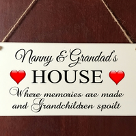 Grandchildren DELUXE Plaque Nanny & Grandad House Butterfly Sign Gift Present
