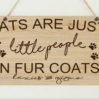 Personalised Cats Just People Fur Coats Cat Lover Sign Christmas Plaque Gift