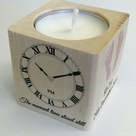 Beautiful Personalised New Baby Birth Christening Gift Shabby Candle Memory Chic