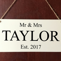 Hand Made Personalised Mr & Mrs Wedding DELUXE Plaque Love Sign Anniversary