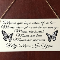 Mum DELUXE Plaque Mam Mom Mummy Butterfly Sign Gift Mothers Day Present